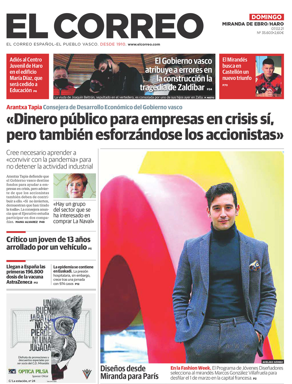 Marcos Villafruela en la portada de El Correo